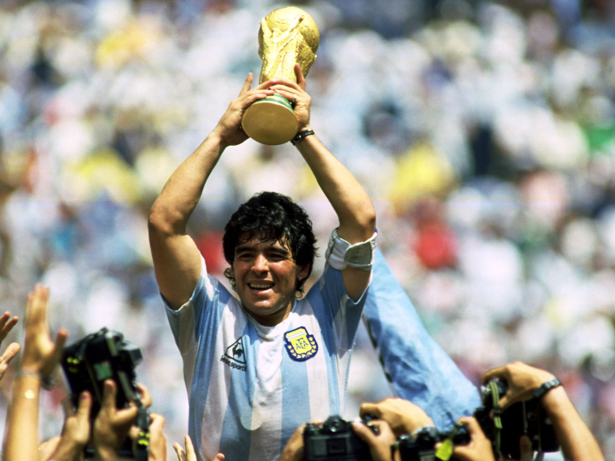 Diego Maradona Playing Football Player With World Cup