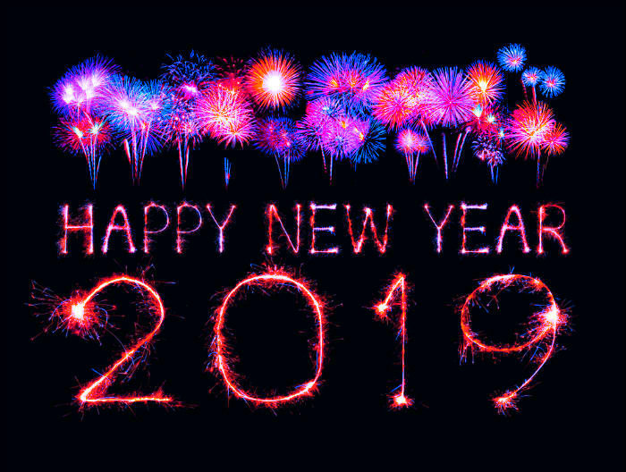 Happy New Year 2019 Images Colorful Crackers