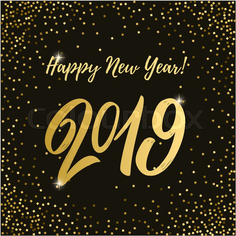 Happy New Year 2019 Images Gold Dots Black Background