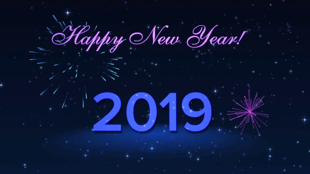 Happy New Year 2019 Pictures Blue And Black Background