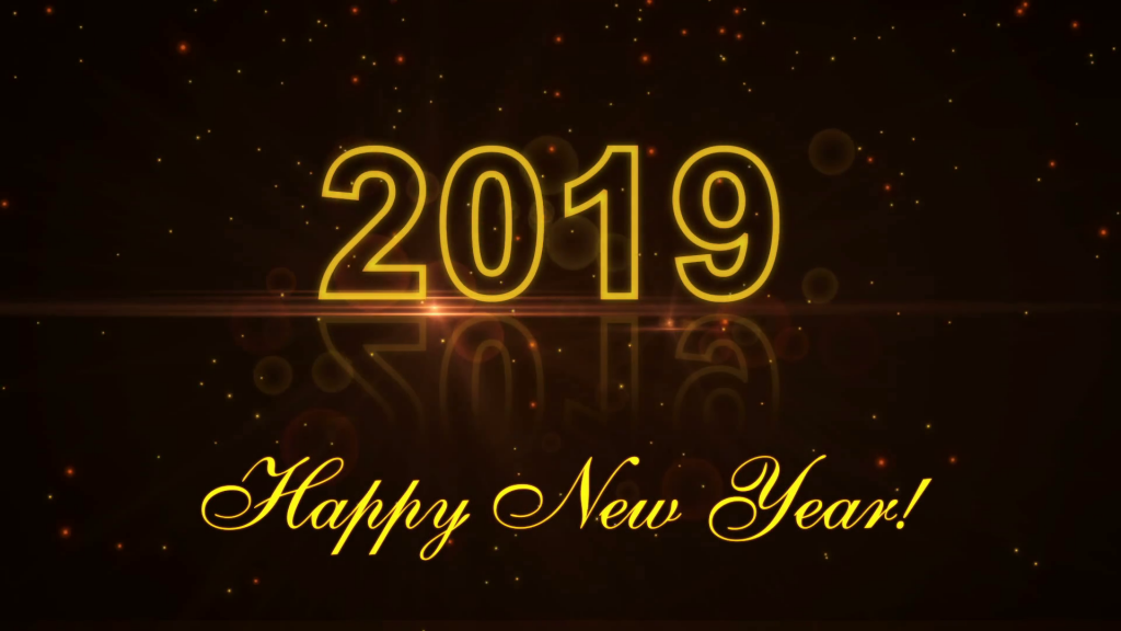Happy New Year 2019 Pictures Yellow Black Background