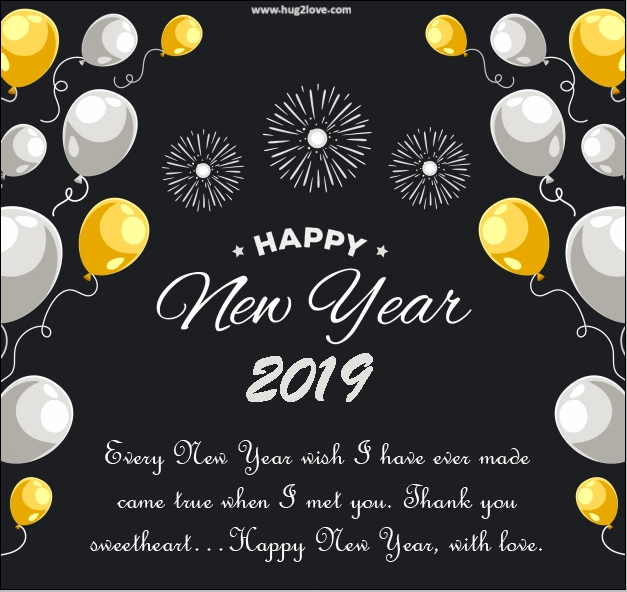 Happy New Year 2019 Wishes Ballons Black Yellow Backgrounds