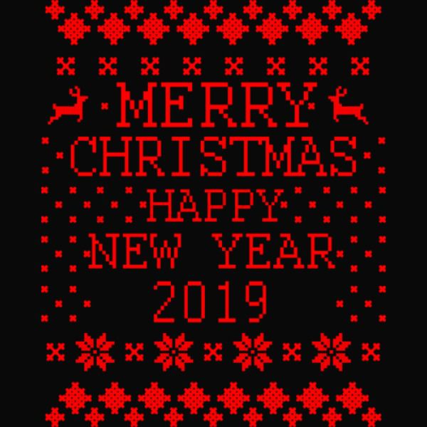 Merry Christmas Happy New Year 2019 Greetings In Red