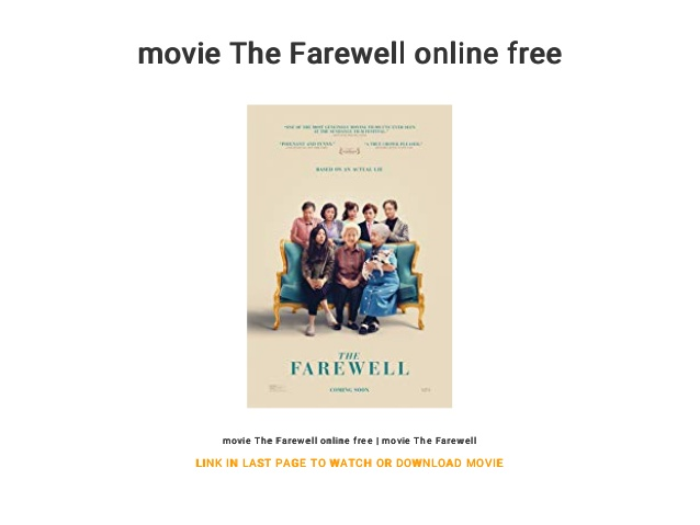 The Farewell Movie Online Download